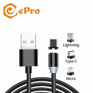 3 in 1 Magnetic USB Charger 1M or 2M USB Data Charging Cable 3A Phone Cable for iOS Micro Type C Nylon Cell Phone Charger Cable