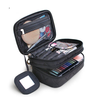 Stylish Black Makeup Brush Organizer Cosmetic Bag Storage Bag With Handle For Travel