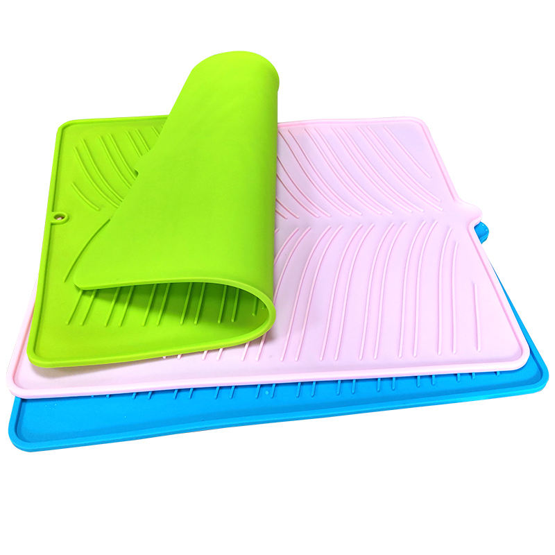 Custom Silicone Drying Mat Dish Drying Mat Thick Counter Mat With Deep Grooves Dry Faster Easy Letting The Water Out