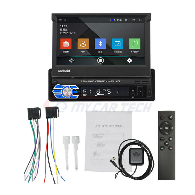 1 Din Android 10.1 Autoradio Autoradio 7 ''Intrekbare Touch Screen Auto Video Stereo Gps Navigatie Wifi Usb