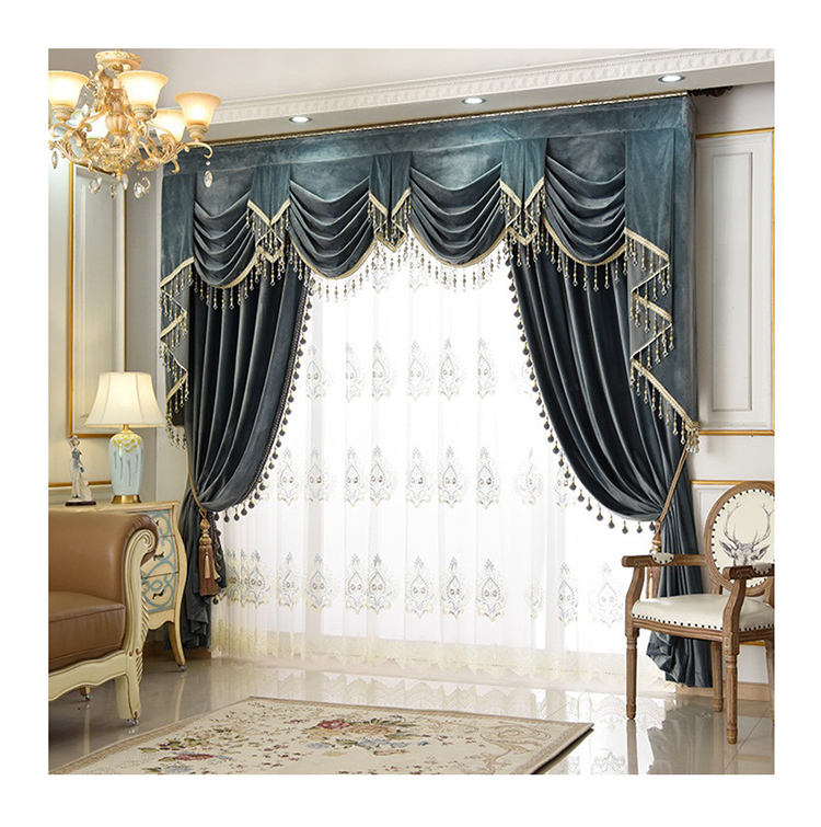 ready made various colors plain drapes fabric living room elegant velvet blackout curtains with valance