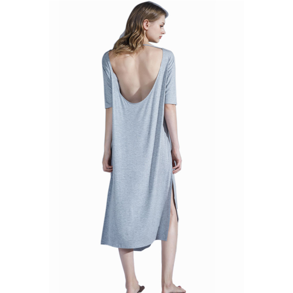 Hot Sale Summer Short Sleeve Pajamas Women Backless Sleepwear Ladies Sexy Night Dress For Girls