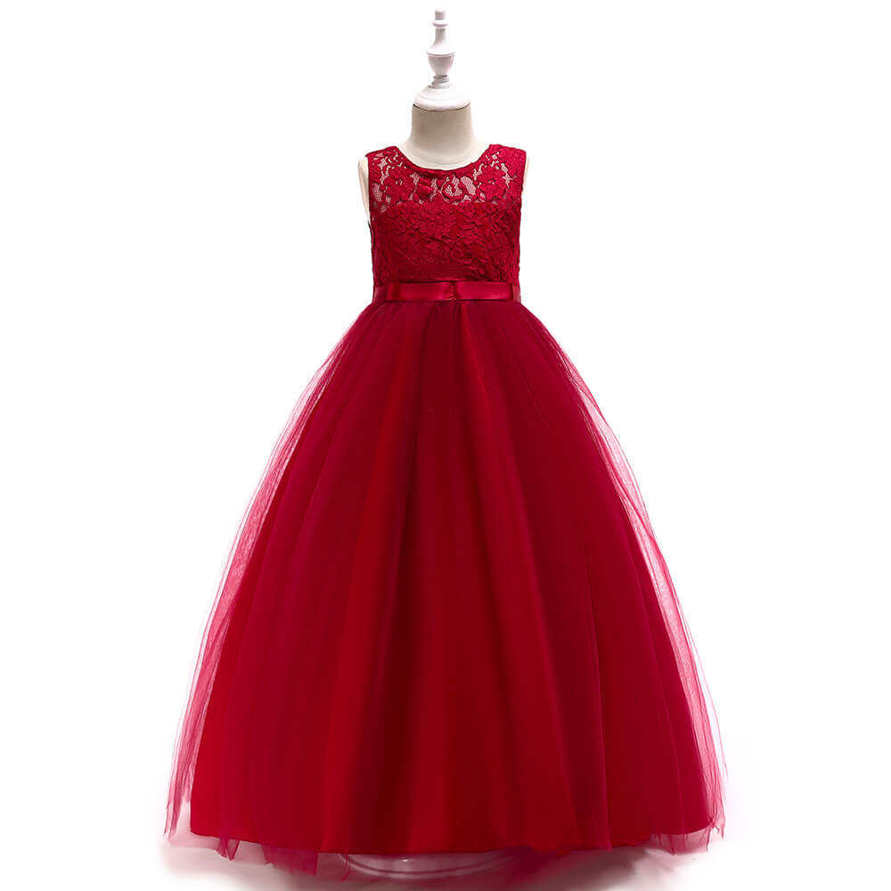 Fashion Summer Child Flower Mesh Princess Ball Gowns Puffy Long Wedding Party Dress For Kids Girls