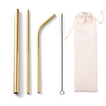 Amazon hot Stainless Steel Straws reusable metal drinking straws brush With logo