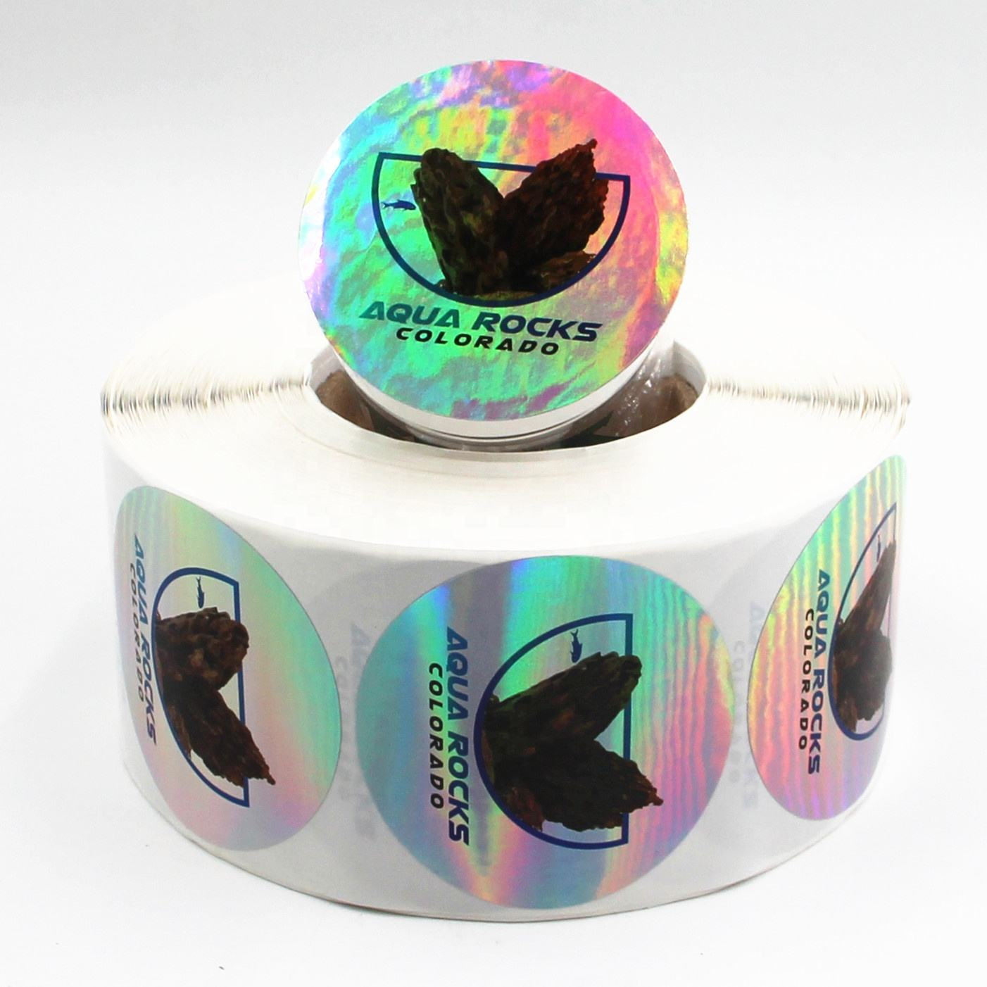 Rainbow Laser Film Label Stiker Tahan Air Label Bulat Stiker Sealing Label untuk Kemasan Botol
