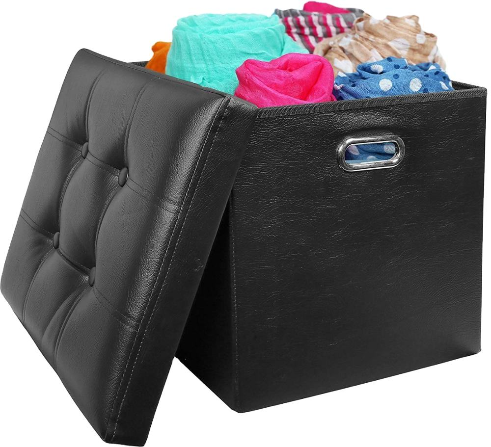 PVC leather fabric MDF board enough strong collapsible ottoman with storage storage bins folding storage ottoman