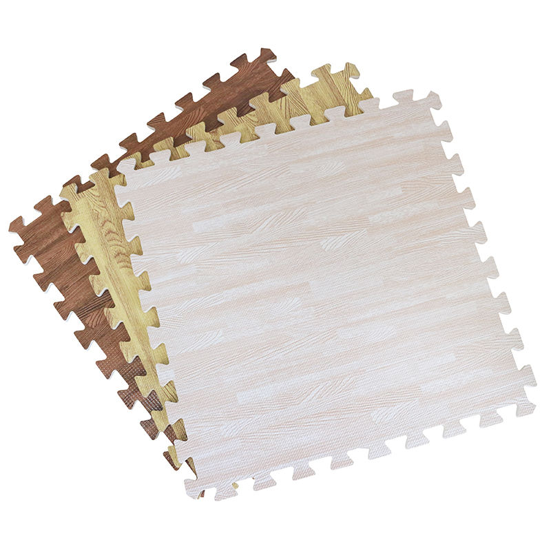 Factory Free Sample High Density EVA 60*60*1.2CM Tatami Wood Grain Foam Interlocking Puzzle Floor Tiles Baby Play Active Mat