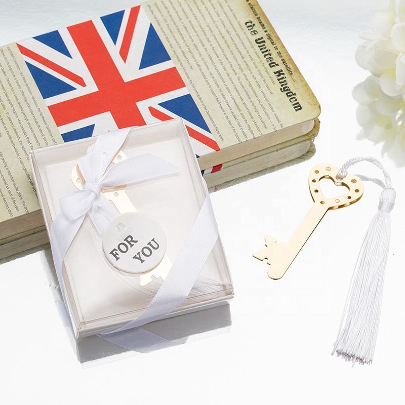 Vintage Heart Key Gold Note Shaped Metal Bookmark Novelty Wedding Bridal Shower Valentine's Day Gift Party Favors Present