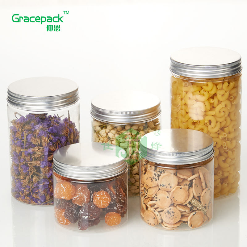 Clear Dried Round Shape plastic jar containers honey Jar 500ml PET Wide mouth Ice cream plastic food container