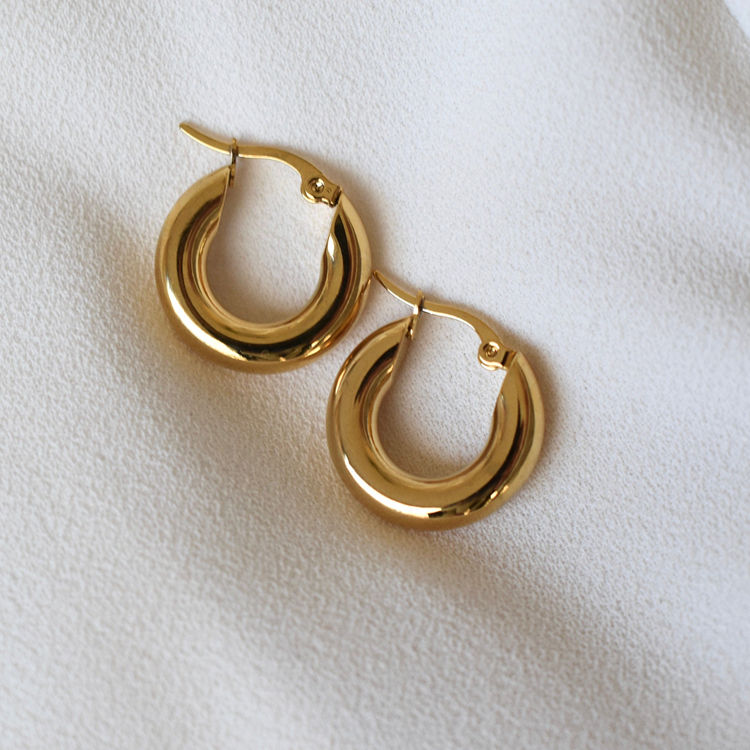 18K Gold Plated Minimalist Women Jewelry 316L Stainless Steel Hypoallergenic Chunky Thick Hoop Earrings