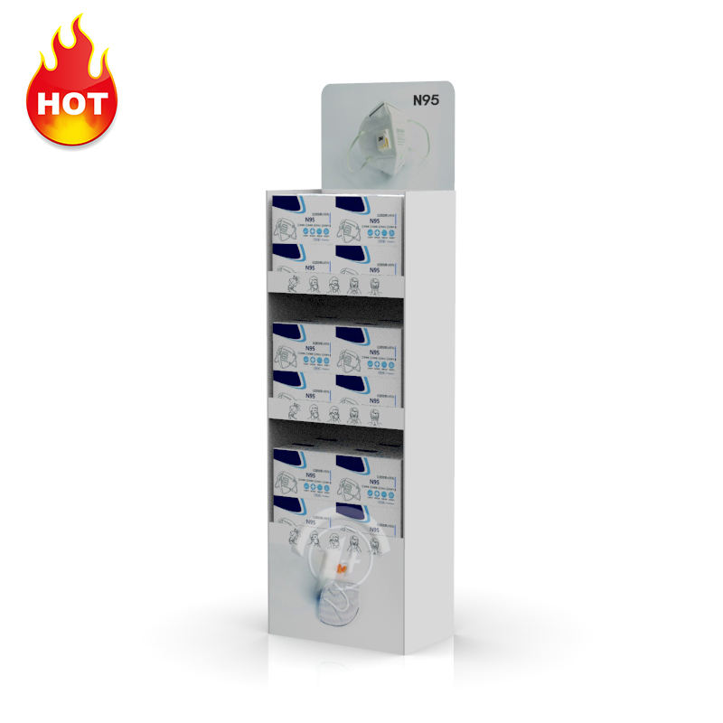 Custom Medical Mask FFP3 Floor Display Stand Cardboard <span class=keywords><strong>3M</strong></span> N95 Respirator Mask Merchandise Floor Display Racks for Trade Showing