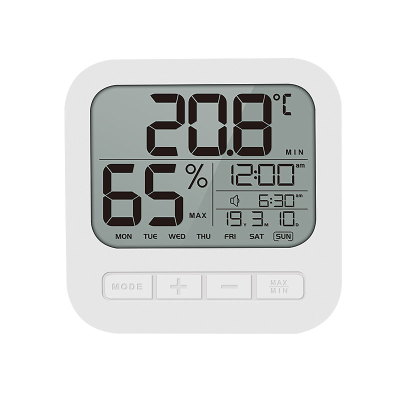 Factory Indoor Humidity Temperature Monitor Clock, Digital Hygrometer Humidity Meter Weather Station Hang on/Stand Alarm clock