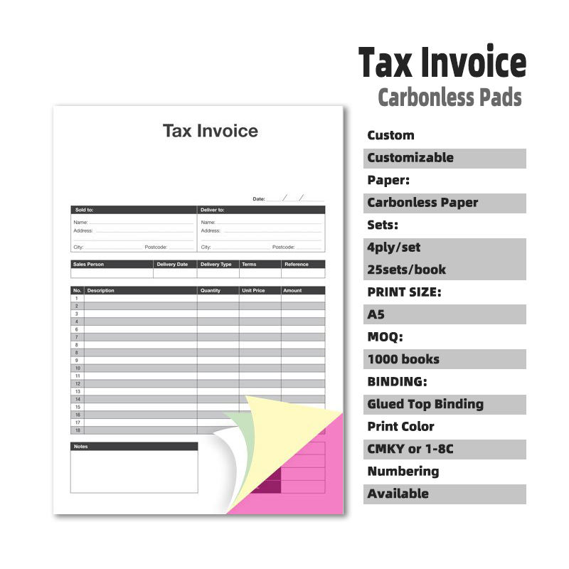 OEM/ODM Cheap Price Duplicate Triplicate Quadruplicate NCR/Carbonless A5 commercial Tax Invoice Pads Book Customizable Printing