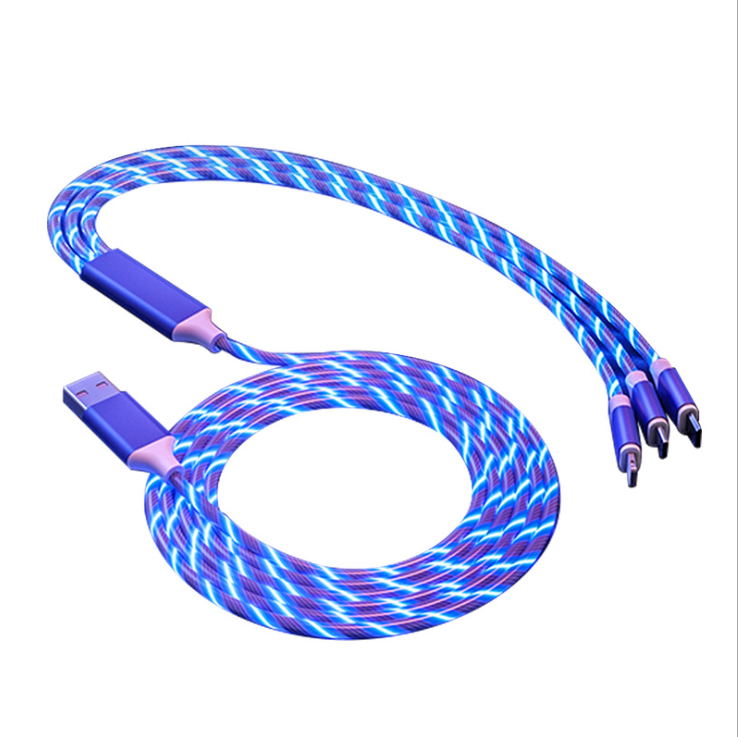 streamer data line usb charger cable light led flowing Used for iPhone Type C Micro USB 3 in1 LED charger USB Cable