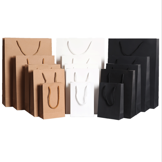 Plain cheaper price kraft paper bag with twisted string handle clothing packaging paper bag