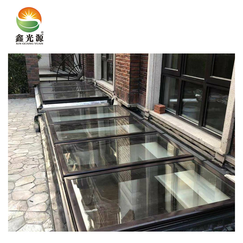High quality walk on skylight with tempered laminated glass and skylight window mosquito net