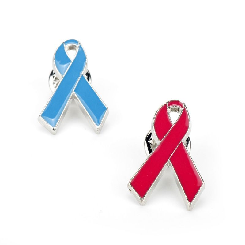 Made in china HIV aids red ribbon WAD World AIDS Day custom metal iron soft enamel resin breast cancer brooch