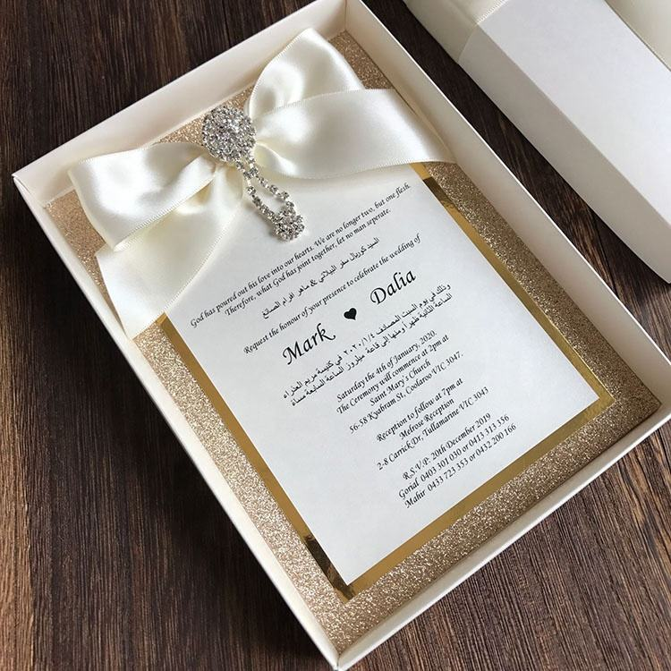 High-end Customized Wedding Invitation with White Box