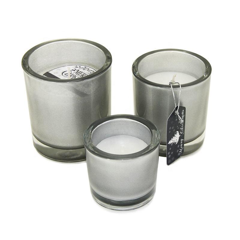Descuento nuevo estilo vela perfumada en señorial contenedor vela única de los buques de plata pedazo de vidrio sostenedor