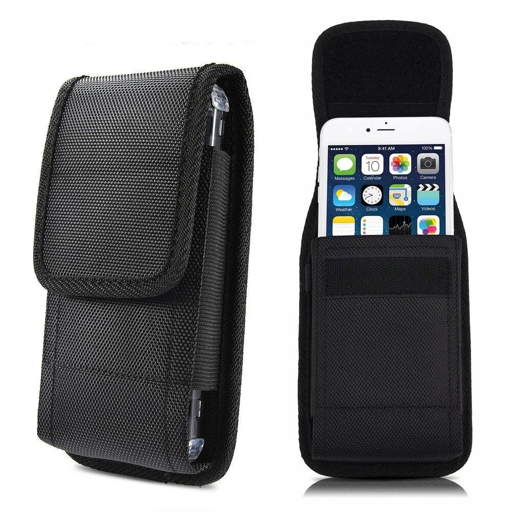 Free Ship Horizontal Vertical Flip Rugged Nylon Cell Phone Pouch for iPhone 6 7 8 Plus Xs Max Cover with Waist Belt Clip