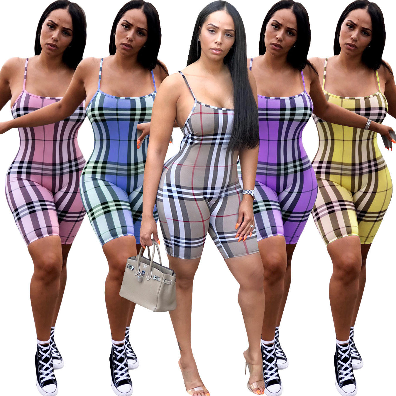 Fashion Sexy Backless Sling Plaid Print Short Jumpsuit Rompers Women
