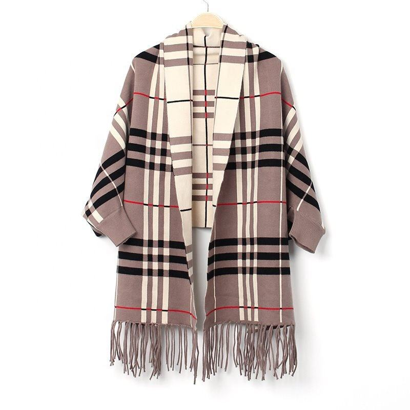 Custom Winter PonchoとSleeves Khaki Viscose Cotton Long Plaid Pattern Scarf Wool Shawl