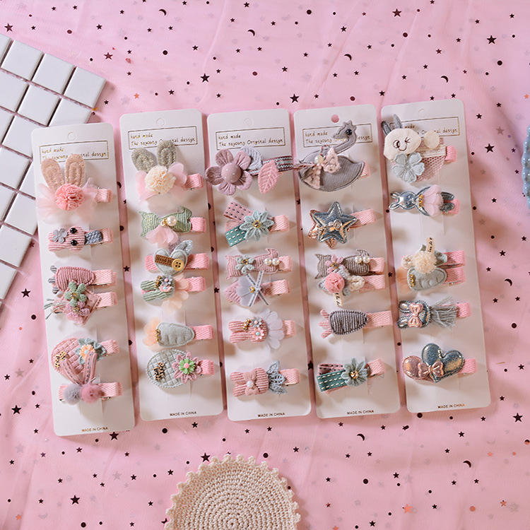 HC371 2020 best selling baby hair accessories cheap price wholesale bulk clip in hair kids mixed design hairclips for girls