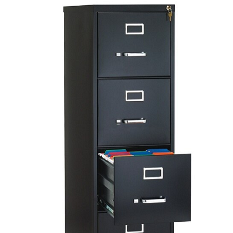 Commercial-grade Black Color 4-Drawer Letter-Size Vertical File Cabinet
