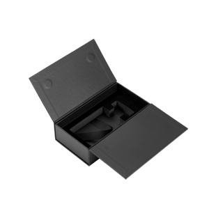 Custom Sponge Tray Rigid Paper Magnetic Closure Creative Black Flip Lid Luxury Bottle Unique Perfume Packaging Box
