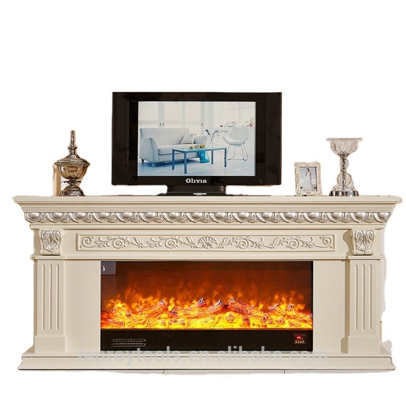 luxurious 2m log dimensional carved tv standing electric fireplace with decorative heating furnace core