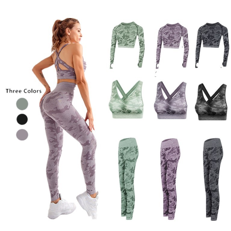 3PCS Camo Seamless Yoga Set Sports Wear For Women Fitness Clothing Yoga Leggings+Sport Bra+Long Sleeve Crop Top Gym Sport