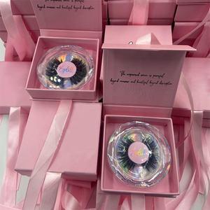 Wholesale Lashes Private Label Lashbox 3D Mink eyelash pink Eyelashes box Packaging Create Your Own Brand Eye Lashes