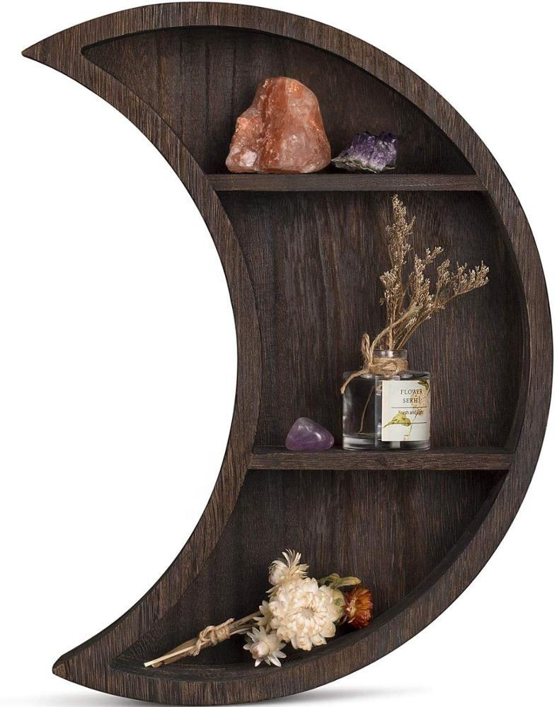 Wall Mounted Moon Shelf Wooden Floating Shelves Hanging Storage Display Shelf Wall Decor for Living Room Bedroom