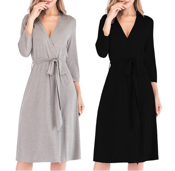 Wholesale Soft Short Knit Bathrobe Sleepwear Ladies Lounge wear S-XXL For Sleeping Wear Women Robes Cotton Lightweight Robe