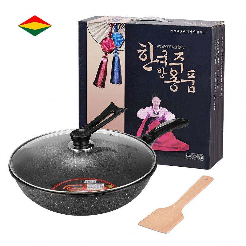 Cookware Deep Frying Pan Non-Stick Korean Frying PanとLid