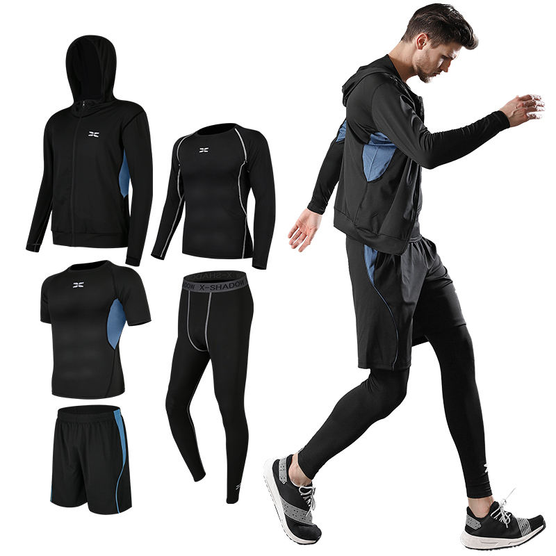 Free Match Style 5 Piece Compression Gym Tights Suits Sportswear mens fitness clothing