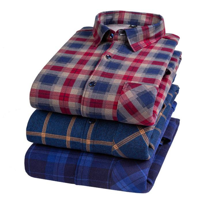 2020 blouse men's autumn and winter new warm shirt men's long-sleeved father dad wear casual Korean version cashmere shirt in st