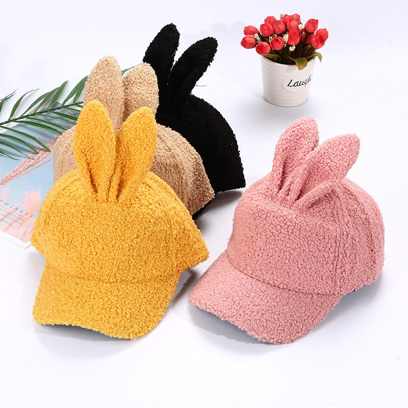 2019 newest easter pink black yellow and camel winter plush rabbit bunny ear baseball caps for kids