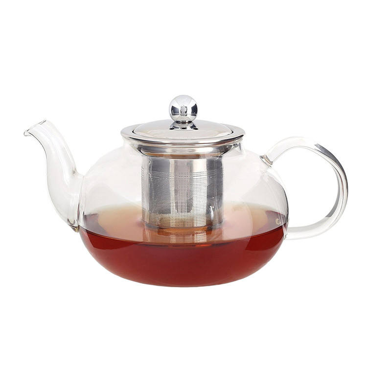 Handmade High Borosilicate 800ml Clear Glass Teapot Set Custom Tea Pot Glass With Infuser