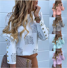 Trending 2020 Fashion Women's Tops Button Long Sleeve Print Lettering Shirt ladies%27+blouses