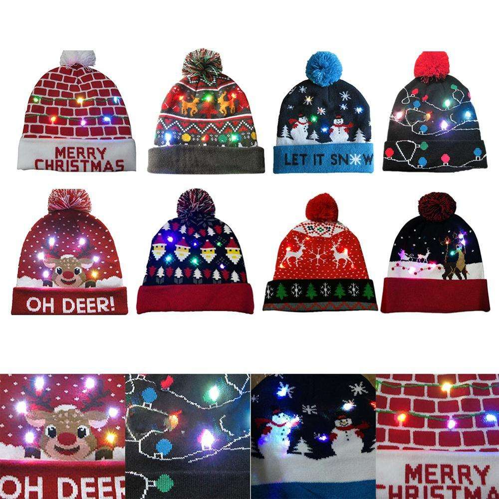 Christmas LED Flashing Light Knit 2020 New Year Soft Santa Snowman ELK Elasticity Warm Hat Adult Kids Xmas Party Hats