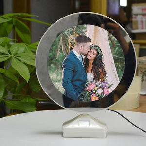 2020 hot sale new LED charging ABS material round magic mirror photo frame
