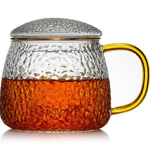 Glass cup reusable transparent grain texture with infuser gilded eco friendly cold and hot resistant tea pot