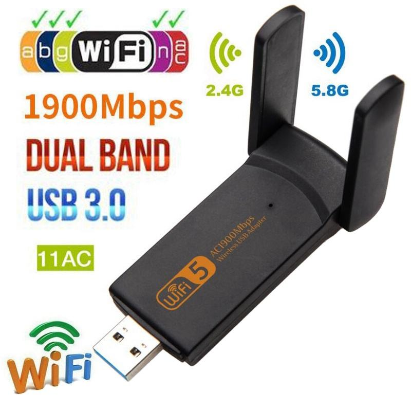 Usb 3.0 Wifi 1900Mbps Adapter 2.4 Ghz 5.0 Ghz Externe Draadloze Netwerkkaart Dual Band Wifi Ontvanger Dongle Voor desktop Pc Laptop