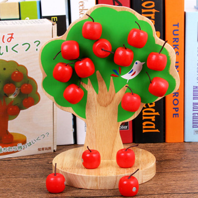 High Quality Hot Amazon Kids Educational Apple Tree Magnetic Wood Toys for Exercise Baby's Hands-on Ability Factory Wholesale