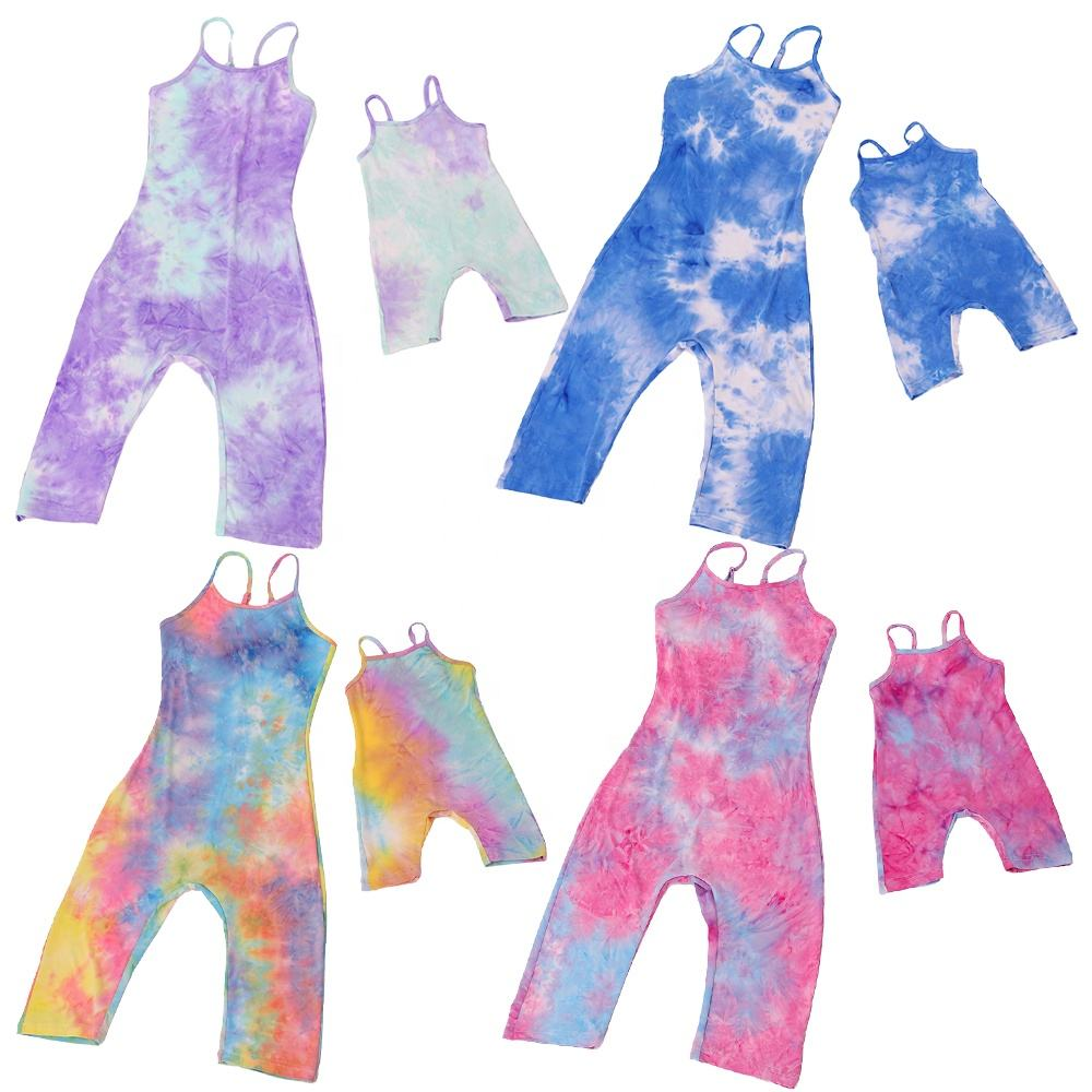 Summer Parent-child Boutique Colorful Rompers Baby Girls Jumpsuits Outfits Spaghetti Strap Cool Mommy and Me Outfits Tie-dyed