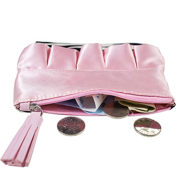 Polyester [ Cheap Purse ] Cheap Coin Purse Cheap Custom Stripe Waterproof Coin Purse Wallet Sublimation Pink Mini Zipper Purse For Girl