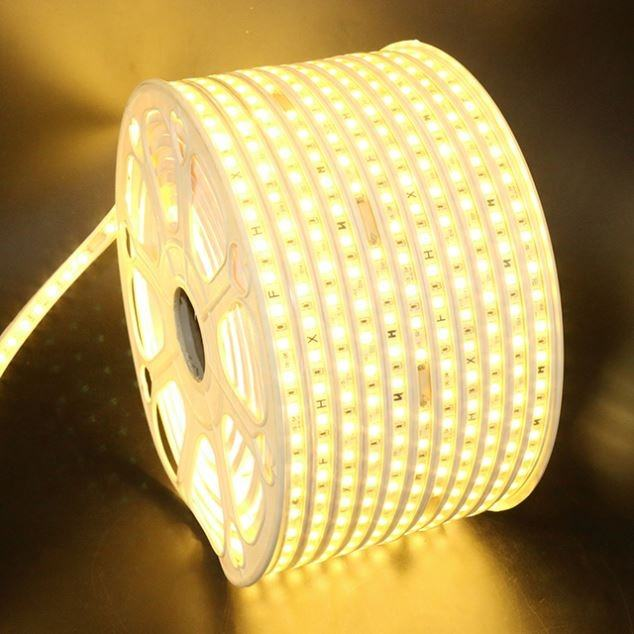 220V 5050 RGB Dimmable Brilliant Flexible LED Strip Light Car Living Room Bar Decoration