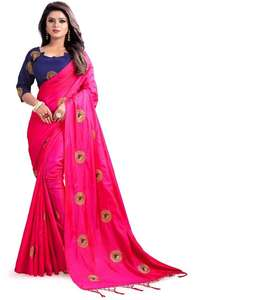 Red color attractive saree surat embroidery work blouse sari party wear ladies women wholesale low price best silk sari