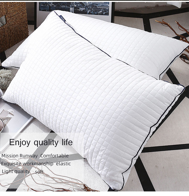 Comfort Lattice Cotton Quilted Pillow Best Selling Quality Fashion Massage 40 Memory Neck Rectangle Solid 100% Cotton Marine 007